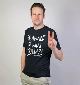 """GARY MASH T-shirt """"be aware"""" black"""