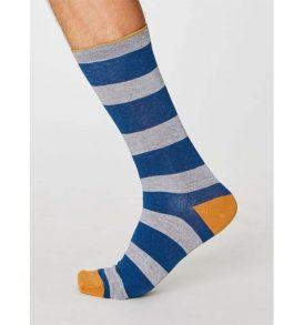 "THOUGHT Herrensocken ""Kierans Rugby Stripe Bamboo Socks"" blue"