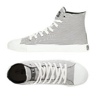 "ETHLETIC ""Fair Trainer"" Hi Cut black/white pinstripes"