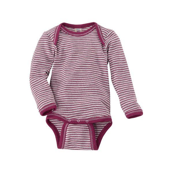 ENGEL Baby-Body langarm Wolle-Seide hellgrau melange/orchidee
