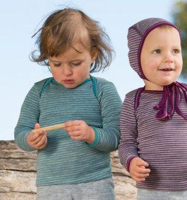 ENGEL Baby-Schlupfhemd langarm Wolle/Seide hellgrau melange/eisvogel