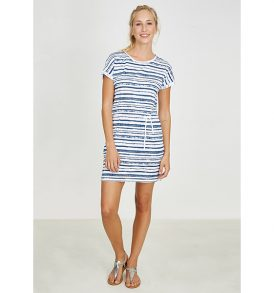 "RECOLUTION Shirtdress ""Turn-up"" whiteblue"
