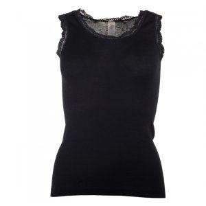 "ENGEL Damen- Shirt ""Achselshirt mit Spitze"" black"