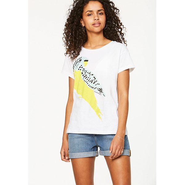 "ARMEDANGELS T-Shirt ""Nela"" Love Bird white-vibrant yellow"