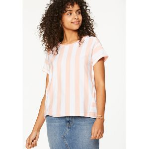 "ARMEDANGELS T-Shirt ""Ronja"" Block Stripes blossom pink-white"