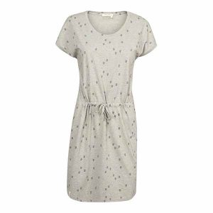 "RECOLUTION Shirtdress V-Neck ""Heartarrow"" grey melange"