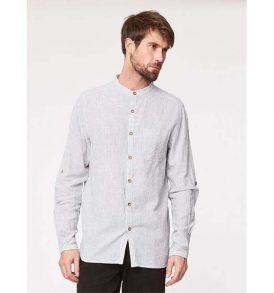 "THOUGHT Herrenhemd ""Randulf Grandad Collar Hemp"" yarn dye stripe"