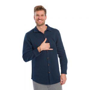 "BLEED Hemd ""Denim Jersey Hemd"" jeansblau"