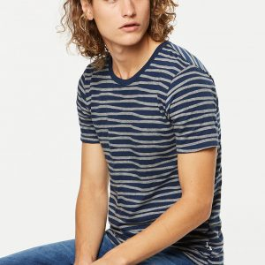"ARMEDANGELS T-Shirt ""Marc Irregular Stripes"" empire blue"