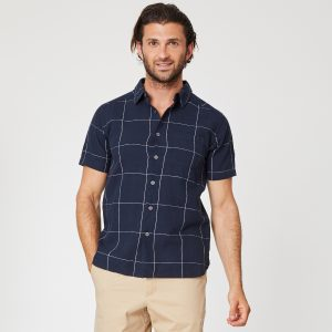 "THOUGHT Hemd ""Curtis Short Sleeve, Hemp Check Shirt"""