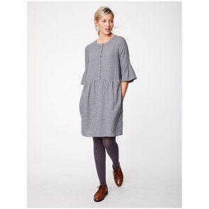 "THOUGHT ""Delfy Check Hemp Dress"" slate grey"