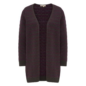 "RECOLUTION Cardigan ""ZigZag"" anthracite melange/ purple"