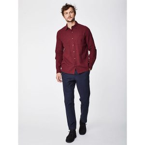 "THOUGHT Herrenhemd ""Curtis Check Hemp Shirt"" aubergine"