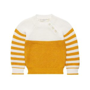 "SENSE ORGANICS Pullover ""VICTOR Baby knitted Sweater"" mustard+ivory"