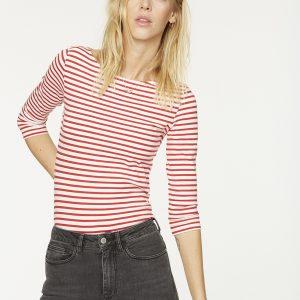 "ARMEDANGELS Shirt ""Darja Bow"" off white – ribbon red"