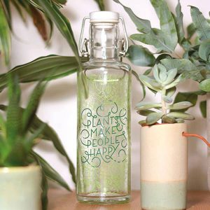 "SOULBOTTLES Glasflasche ""Plants make people happy"" 0,6l"