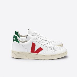"VEJA Schuhe ""V-10 Leather"" extra white pekin emeraude"