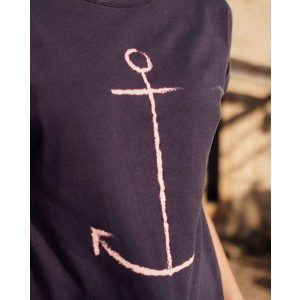 "RECOLUTION Damen T-Shirt Casual Turn Up ""#Anker"" navy"