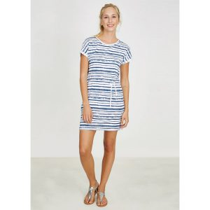 "RECOLUTION Jerseykleid ""Turn Up #Stripes"" white/navy"