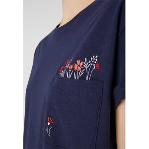 "ARMEDANGELS T-Shirt ""Naalin Pocket full of Flowers"" evening blue"