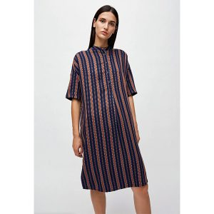 "ARMEDANGELS Kleid ""Maarjuli Multicol Stripes"" evening blue-maroon, Gr S"