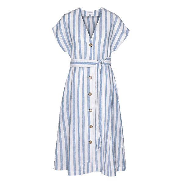 "Saalika Block Stripes"" breeze blue-off white"
