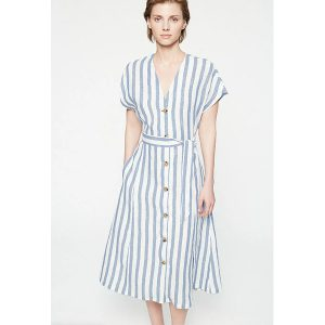 "ARMEDANGELS Kleid ""Saalika Block Stripes"" breeze blue-off white"