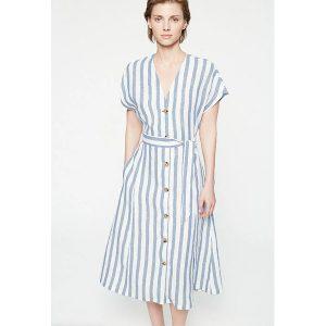 """ARMEDANGELS Kleid """"Saalika Block Stripes"""" breeze blue-off white"""
