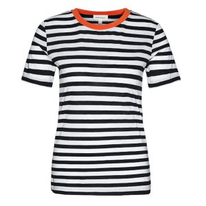 "ARMEDANGELS T-Shirt ""Lidaa Bold Stripes"" black-white-orange"