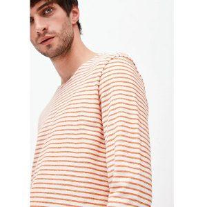 """ARMEDANGELS Longsleeve """"Jaardy Stripes"""" off white – dark orange"""