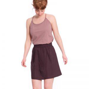"""BLEED Rock """"Tencel Linen Skirt"""" dark purple"""