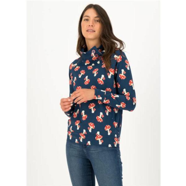 Gemütlicher Sweat-Pullover mit Taillenzug und hohem Kragen.