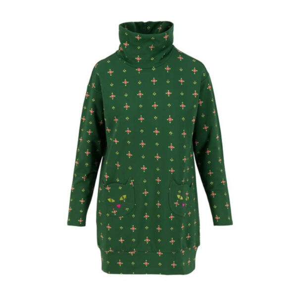 Frische Farbe, Lockerer Schnitt, weiches Bio-Material, hoher Kragen, lässige Taschen... alles was ein Lieblingspulli in grün haben muss!