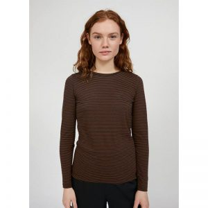 "ARMEDANGELS Longsleeve ""LARENAA RING STRIPES"" black cacao"