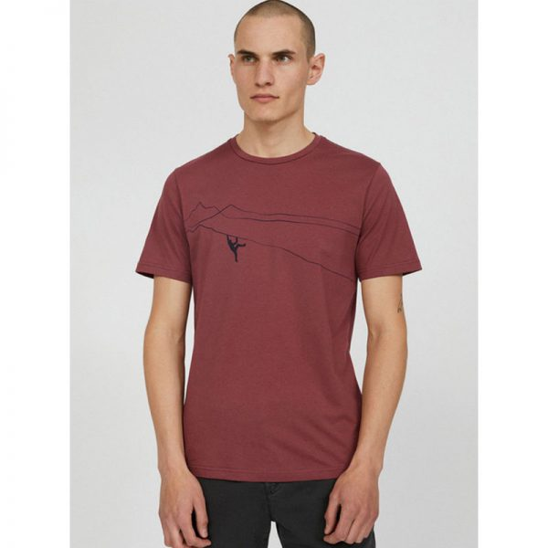 ARMEDANGELS T-Shirt Jaames Mountain Climber sable red