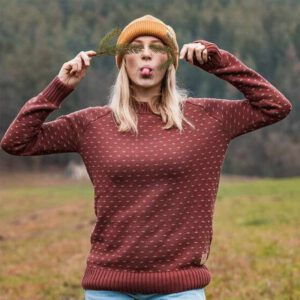 "BLEED Damen Strickpullover  ""Summits"" red"