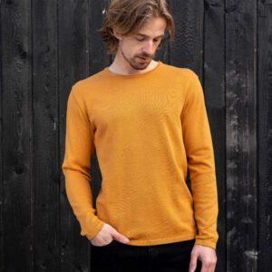 """BLEED Herren-Strickpullover """"Fine Ecoknit"""" yellow"""