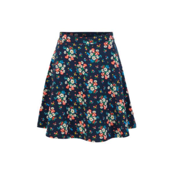 Weicher Bio- Baumwoll Sweat trifft Blumenprint. Der gemütliche Glockenrock Schnitt, sitzt elastisch in der Taille und schwingt mit.
