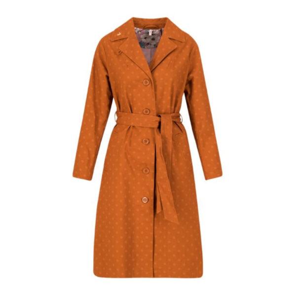 Ein Trenchcoat mit seidigem Innenfutter im stylishen apri coat Print.