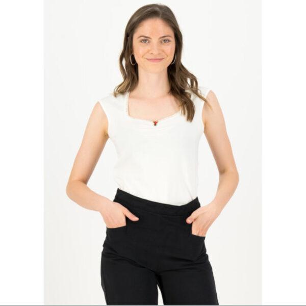 """passendes Basic- T-Shirt """"Logo Top Romance Uni"""" von BLUTSGESCHWISTER bringt dich auch im schlichten und verspielten Stil zum glänzen"""