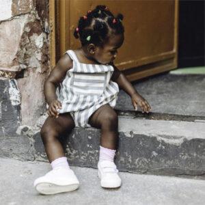 "SENSE ORGANICS Baby Short Overall ""Bente"" dusty blue stripes"
