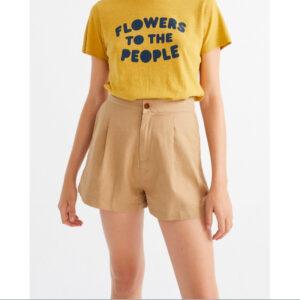 "THINKING MU Shorts ""Hemp Narciso"" camel"