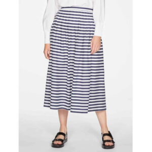 "THOUGHT Midi-Rock ""Holly Striped Pleated Tencel™"" navy"