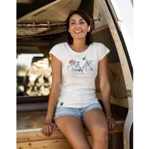 "ZERUM T-Shirt ""Lea Damenrad"" white"