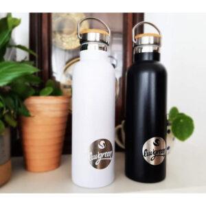 """LUVGREEN Edelstahlflasche Thermo """"750 ml"""" schwarz oder weiß"""