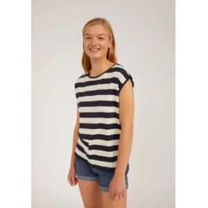 "ARMEDANGELS T-Shirt ""Jilaa Big Stripes"" night sky-oatmilk"
