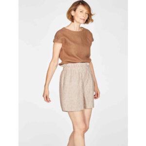 "THOUGHT Shorts ""Isobel Yarn Dye Stripe Hemp"" cinnamon brown"